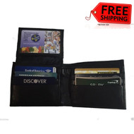 Men's Leather Bifold Credit/ Cards Holder ID Flip-up Slim Wallet Money Purse