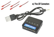 CommonSense RC 5-port 1S lipo USB Charger w/ Five JST adapters