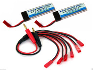 CS COMBO JST-6 - Parallel Charging Adapter : 6 Lipos w/ 3.7 volt 600mAh 35C LiPo