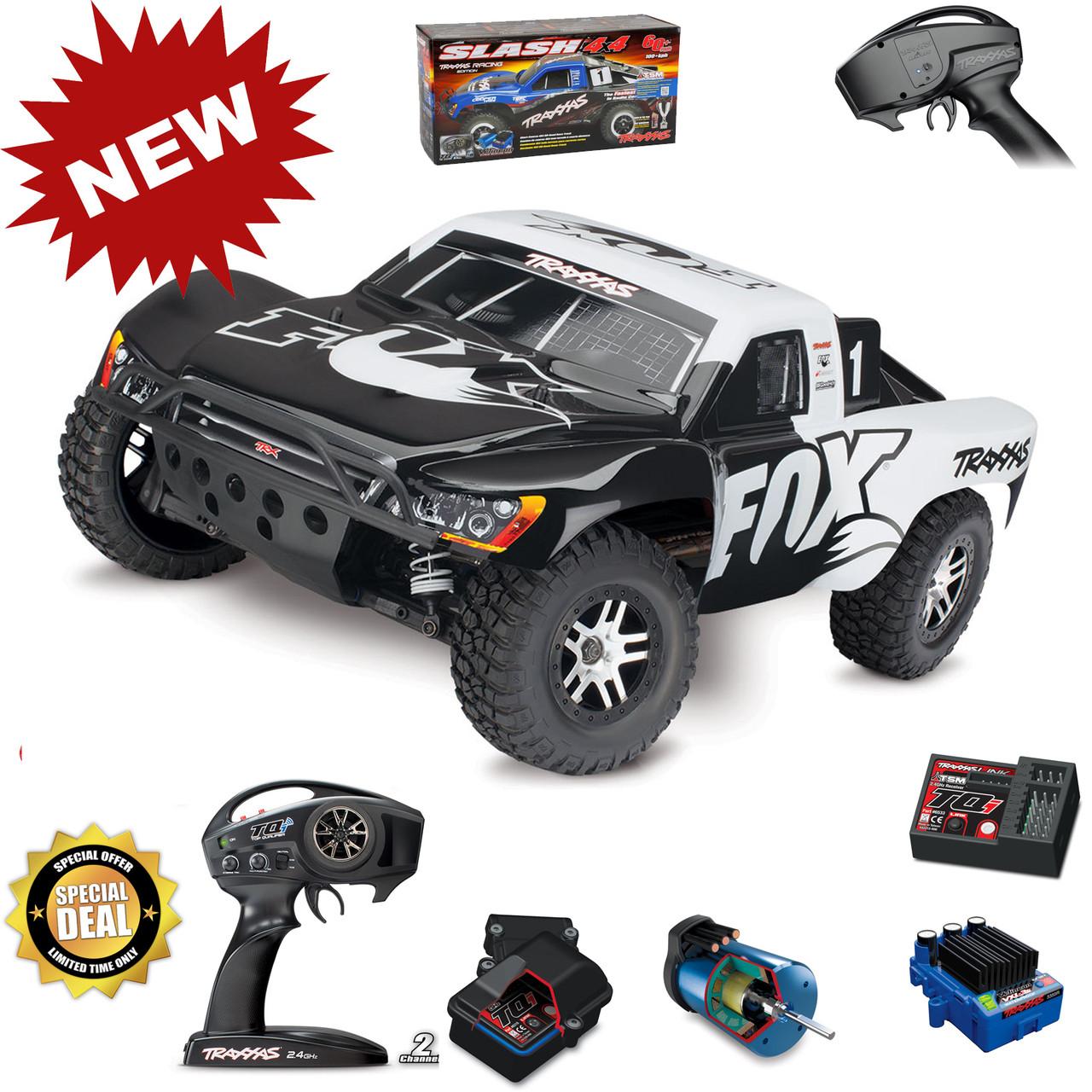 Traxxas 68086-4 Slash 4x4 VXL Brushless RTR White Fox Short Course Racing  Truck TSM w/ Battery & Charger