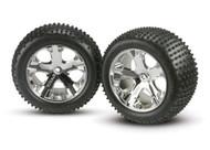 Traxxas 3770 Alias Rear Tires w/All-Star Wheels (2) (Chrome) (Standard)