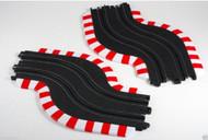 Latest AFX70617 HO Scale Slot Car Chicane Track Set L & R w/ Kerb Sections