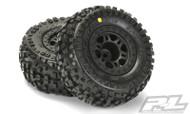 """Proline 1182-22 Badlands SC 2.2""""/3.0"""" Tires Mounted on Split Six Black Slash Rear Wheels"""