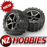 Traxxas 7174A Gemini Black Chrome Wheels w/ Talon Tires (2) 1/16 E-Revo VXL