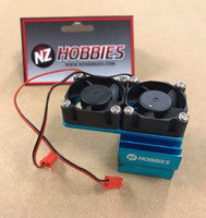 NZHOBBIES Aluminum Motor Heatsink + Twin Cooling Fan Traxxas Slash 4X4 BLUE
