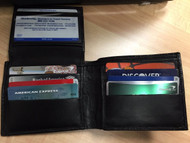 Bifold Wallet Men's Genuine Leather Black Credit/ID Card Holder Slim Purse