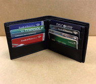 Bifold Men's Genuine Leather Wallet Center Flap 12 Cards/ID