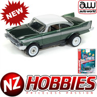 AUTO WORLD THUNDERJET ULTRA G R22 1958 PLYMOUTH BELVEDERE (GREEN/WHITE) HO SCALE SLOT CAR