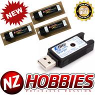 Combo NZ HOBBIES 1S 3.7V 180mAh 45C (3pcs) Lipo Battery w/USB Charger