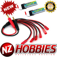 LECTRON 1S 3.7V 600mAh 35C (2pcs) Lipo Battery w/Parallel Charging Adapter for 6 Lipos