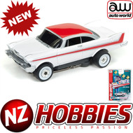AUTO WORLD THUNDERJET ULTRA G R22 1958 PLYMOUTH BELVEDERE (WHITE/RED) HO SCALE SLOT CAR