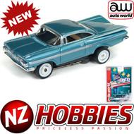 AUTO WORLD THUNDERJET ULTRA G R22 1959 CHEVY IMPALA (BLUE) HO SCALE SLOT CAR