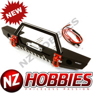 Integy C26992BLACK Realistic Alloy Machined Scale Front Bumper w/LED Lights : Axial SCX10 II
