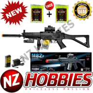 Airsoft Double Eagle M82P Semi/Full Auto Black Gun/Rifle w/ Charger, BBs, Flashlight, Laser, Red Dot Scope, Silencer, Vertical Grip & Side Folding stock