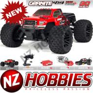 ARRMA ARA102714T2 Granite Mega 4x4 Brushed 4WD 1/10 MT Red/Black w/ Battery & Charger
