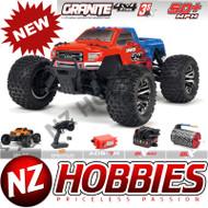 ARRMA 1/10 ARA102720T2 Granite 4X4 3S BLX 4WD RC Truck RTR w/ Radio, RED/BLUE