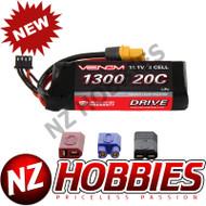 New Venom 15024 LiPo 3S 11.1V 1300mAh 20C LIPO BATTERY 1/16 RALLY VXL Uni Plug