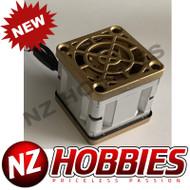 """NZHB/GCRC Custom JayTee """"MEGA FLIPS"""" RC Cooling Fan (ONE FAN) GOLD ON SILVER"""
