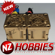"NZHB/GCRC Custom JayTee ""MEGA FLIPS"" RC Cooling DUAL FANS Gold ON Gold"