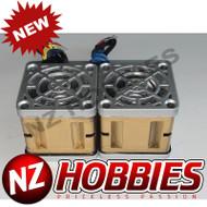 "NZHB/GCRC Custom JayTee ""MEGA FLIPS"" RC Cooling DUAL FANS Silver ON Gold"