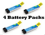 E-flite 150mAh 1S 3.7V 45C LiPo 4 Pcs Battery BLADE NCPX NANO QX # EFLB1501S45