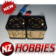 "NZHB/GCRC Custom JayTee ""MEGA FLIPS"" RC Cooling DUAL FANS Black ON Gold"