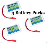 Lectron Pro 3.7 volt 700mAh 30C LiPo Battery 1S700-30-L (3 Packs) LaTrax Alias