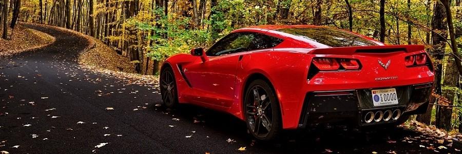 C7 Red Corvette in Autumn