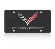 C7 Corvette Logo/Script Black SS License Plate
