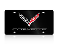 C7 Corvette Logo/Script Black Acrylic License Plate