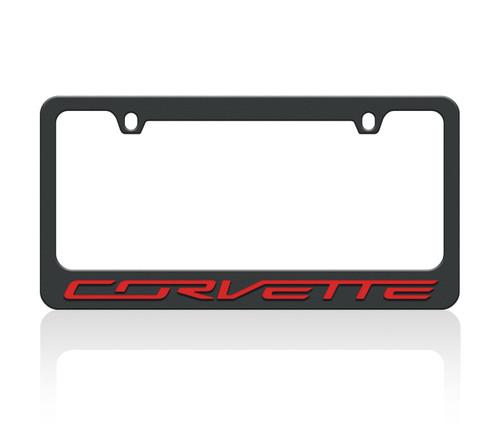 C7 Corvette Black License Frame (red letters)