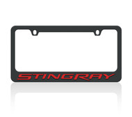 C7 Corvette Stingray Black License Frame (red letters)