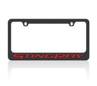 C7 Corvette Stingray Black License Frame (red letters)