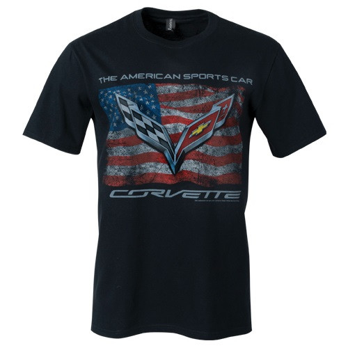 C7 Corvette Distressed American Flag T-Shirt