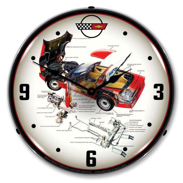 C4 Corvette Schematic Backlit Clock | Corvette Depot on c5 corvette, chevrolet corvette, c7 corvette, c2 corvette, c1 corvette, grand sport corvette, c8 corvette, c3 corvette,