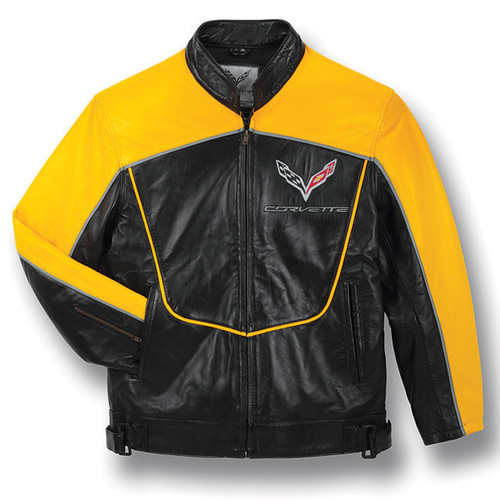 C7 Corvette Racing Black/Yellow Lambskin Bomber Jacket