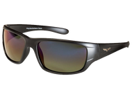 Mat Black C6 Corvette Sunglasses - Gray/Green with Gradient Blue Mirror Tint