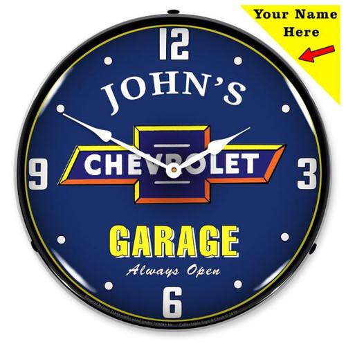 Custom Add Your Name Chevrolet Garage LED Backlit Clock