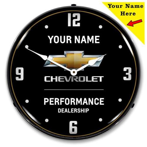 Custom Add Your Name Chevrolet Performance LED Backlit Clock