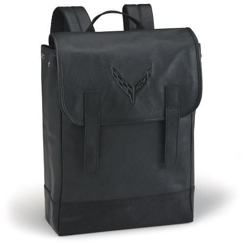 C8 Corvette Black Leather Back Pack