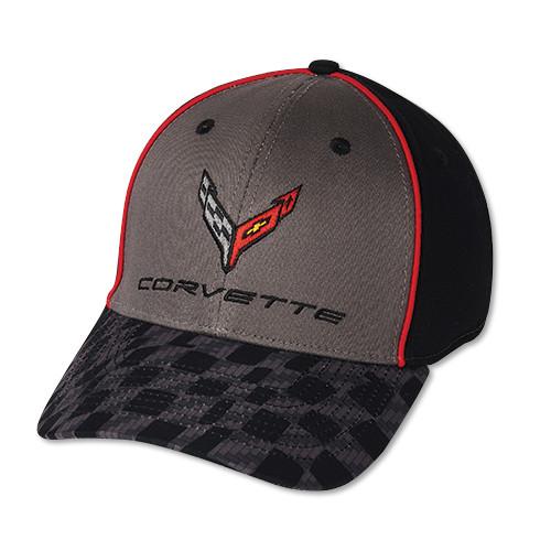 C8 Corvette Black, Gray, Red Checkered Visor Hat