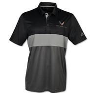C8 Corvette Adidas Black/Gray Sport Polo Shirt  (black)