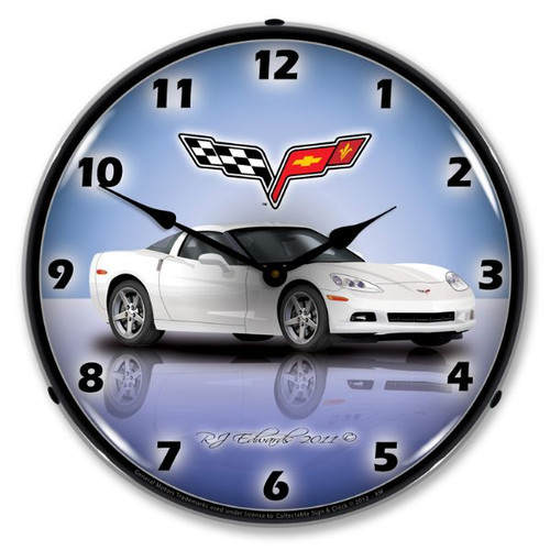 C6 Corvette Arctic White Clock