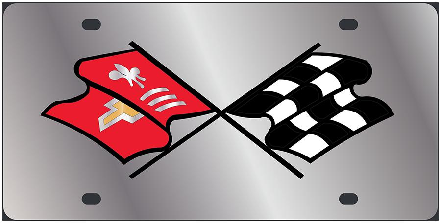 Corvette 67 C2 Logo Black Mirror Outline Finish Lazer Tag Acrylic License Plate