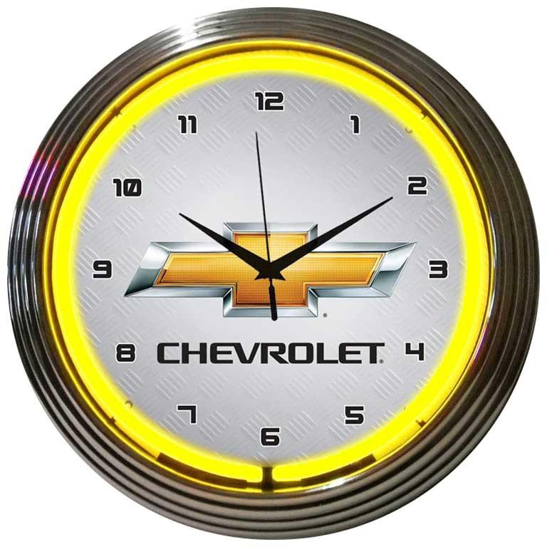 Chevrolet Gold Bowtie Neon Clock