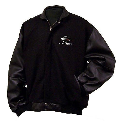 1963-1967 Corvette C2 Logo 3XL Black Leather /& Wool Varsity Jacket
