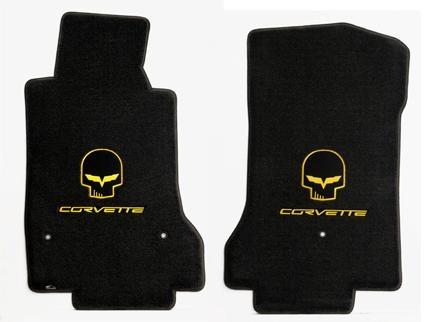 Yellow Jake Skull & Corvette Lettering Ebony Mat