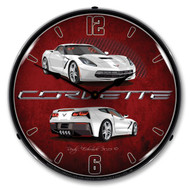 C7 Corvette Arctic White Clock