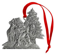 Santa with Woodland Animals - Ornament