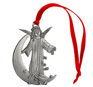 Angel on Moon with Stars - Ornament